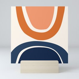 Abstract Shapes 7 in Burnt Orange and Navy Blue Mini Art Print