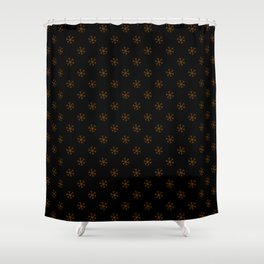 Chocolate Brown On Black Snowflakes Shower Curtain