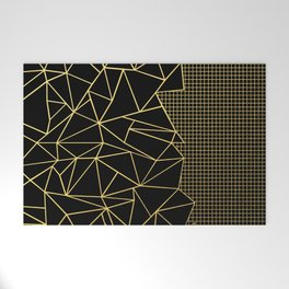 Ab Outline Grid Black and Gold Welcome Mat