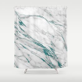 Gray Marble Aqua Teal Metallic Glitter Foil Style Shower Curtain