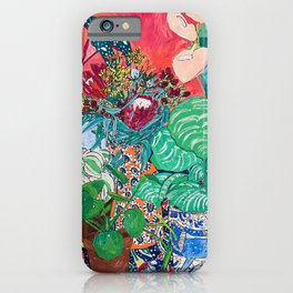 Jungle of Houseplants and Flowers on Bright Coral Pink with Wild Cats iPhone Case