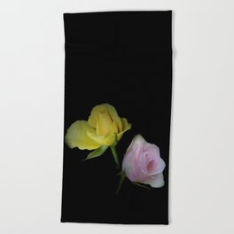 flowers on black - yellow and pink rosebud for curtains and homeproducts Beach Towel