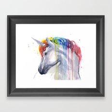 Rainbow Unicorn Watercolor Animal Magical Whimsical Animals Framed Art Print