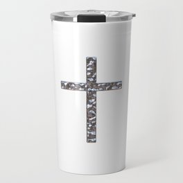 Chrome Crucifix Solid Travel Mug