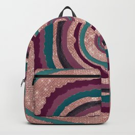 Rose Gold Glitter Purple Abstract Agate Geode Backpack