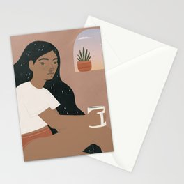 matcha mornings Stationery Cards