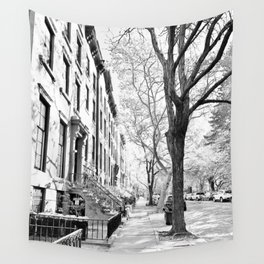 Cobble Hill Brooklyn Winter Black and White Brownstone Wall Tapestry
