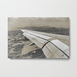 Airplane Arriving to Small Town Metal Print