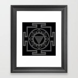 Kali yantra black symbol Framed Art Print