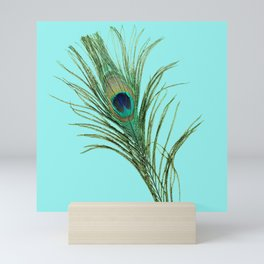 Peacock Feather on Blue Background Mini Art Print