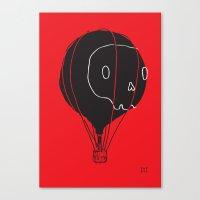 hot air balloon Canvas Prints featuring Hot Air Balloon Skull by Fupete Art