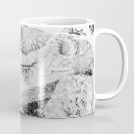 European City Ruins | Ephesus Carved Statue Rock Black and White Muted Gray Historical Wanderlust Coffee Mug