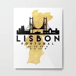 LISBON PORTUGAL SILHOUETTE SKYLINE MAP ART Metal Print