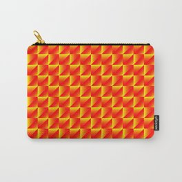 Chaotic pattern of yellow rhombuses and red pyramids in a zigzag. Carry-All Pouch