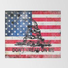Viper N Bullet Holes On Old Glory - Gadsden and American Flag Throw Blanket