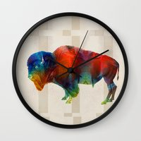 nfl Wall Clocks featuring Buffalo Animal Print - Wild Bill - By Sharon Cummings by Sharon Cummings