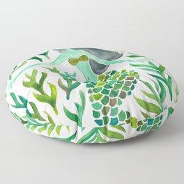 Kelp Forest Mermaid – Green Palette Floor Pillow
