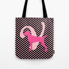 V is for Vizsla Pink Polka Dots Tote Bag