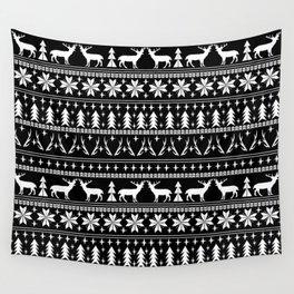 Deer christmas fair isle camping pattern snowflakes minimal winter seasonal holiday gifts Wall Tapestry