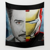 arya stark Wall Tapestries featuring Tony Stark by Goolpia