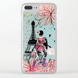 Fashion girl in Paris- Shopping at the EiffelTower Clear iPhone Case