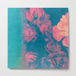 Rose Garden Blue 4- Texture Rose Study in red turquoise scarlet indigo watercolor wash Metal Print