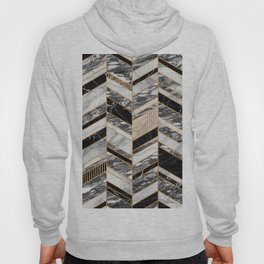 Abstract Chevron Pattern - Black and White Marble Hoody