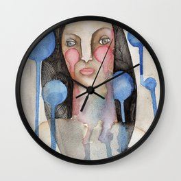 Woman with falling bubbles Wall Clock