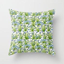Primroses. Blue flowers. Throw Pillow