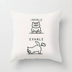 Inhale Exhale Cat Throw Pillow