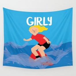 Positively Girly - blonde surfer girl Wall Tapestry