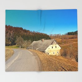 Traditional abandoned farmhouse | architectural photography Throw Blanket