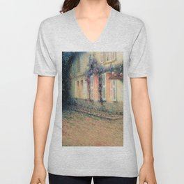 Henri Le Sidaner - Roses and Wisterias on the House (new color editing) Unisex V-Neck