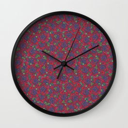 Romantic Red Roses on Cream Wall Clock