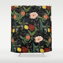 Botanical and Black Cats Shower Curtain