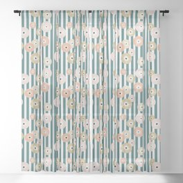 Delicate flowers on stripes Sheer Curtain