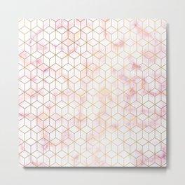 Geometric Gold Pattern on Pink Marble Metal Print