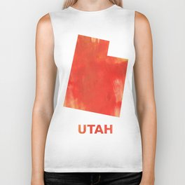 Utah map outline Tomato stained watercolor texture Biker Tank