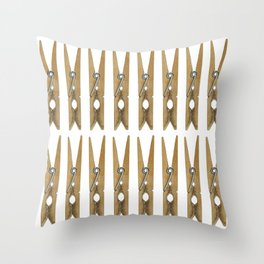 old clothes pins Throw Pillow