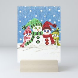 Colorful snowmen family portrait Mini Art Print