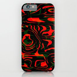 Magical smudges of mysterious infinity from red lines and green horizontal cycle. iPhone Case