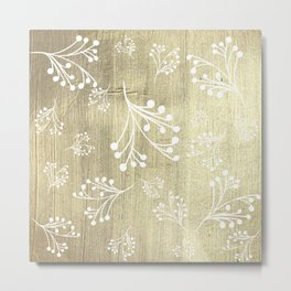 Holiday Flourishes in White on Digital Gold Foil Design Metal Print