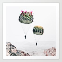 Flying Cacti Art Print
