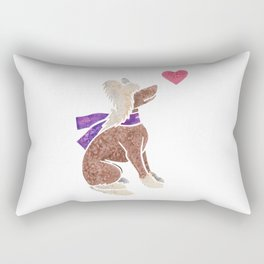 Watercolour Chinese Crested Dog Rectangular Pillow