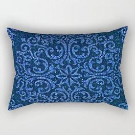 Vintage Blue Paisley Damask Pattern Rectangular Pillow