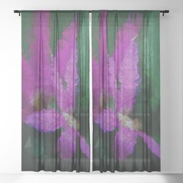 Purple Flowers, Triangulated, Low Poly Sheer Curtain