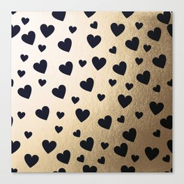 Hearts pattern - gold and dark blue Canvas Print