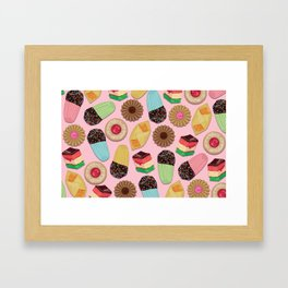 Assorted Cookies on Pink Background Framed Art Print