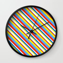 Primary Color Neck Gator Diagonal Stripes Primary Colors Wall Clock