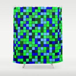 Aqua Squares Shower Curtain